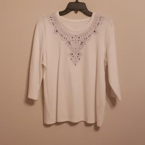 allison daley embroidered thermal shirt